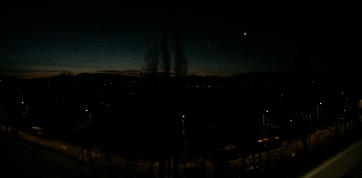 Panorama shot of Geneva at sunrise