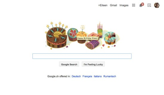 """Happy Birthday Eileen"" from Google"